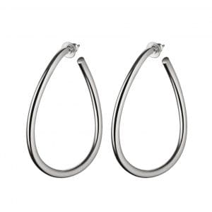 Idole Sterling Silver Large Hoop Earrings for pierced ears feature a linear and sensual purity which reflects the Parisian chicness for the busy women who want to wear the same accessories from morning to night.