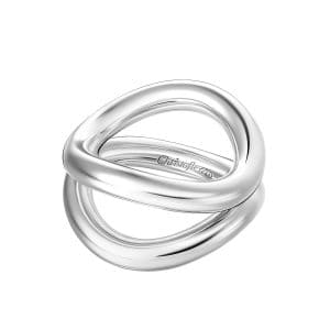 Idole Sterling Silver Double Circle Ring features two eye-catching chunky circles that asymmetrically wrap round the finger in a play of convergence and divergence.