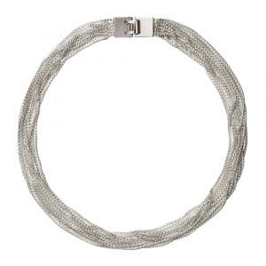 Madison Style Necklace features 12 strands of petite tightly linked sterling silver box chains , caught in a flat and elegant lock, which wrap seductively around the neckline in a supple, light and incredibly comfortable way. The ideal solution for every type o woman whether she is wearing jeans or a cocktail dress.