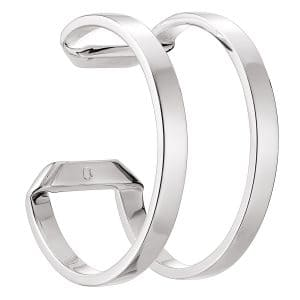 Pliage Sterling Silver Cuff bracelet features double parallel bands that do not overlap but simply wrap around the wrist without ever touching. The playful skin exposing void will add a dash of zest to any outfit.