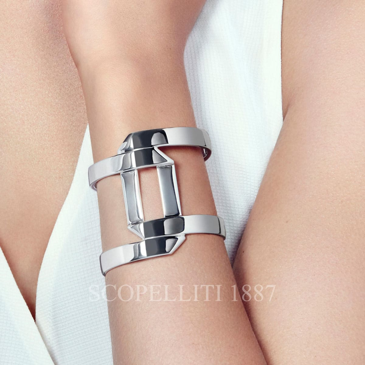 "e1fa27faedf3 Pliage Sterling Silver Large Cuff bracelet features shimmering double  parallel bands that overlap and wrap around. Christofle "" ..."