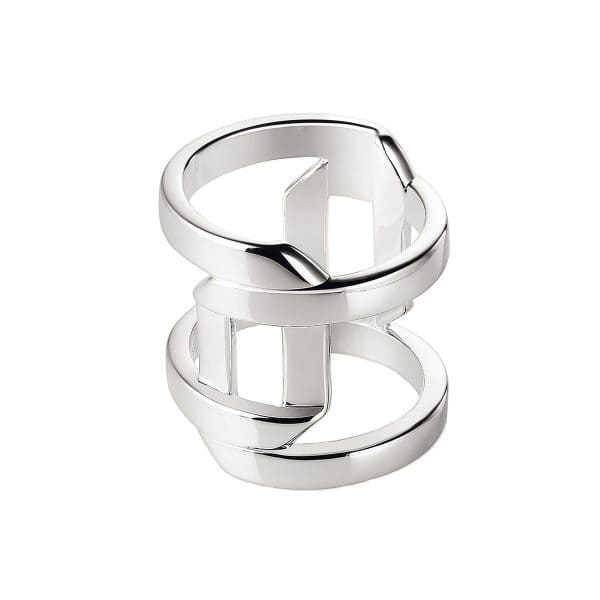 Pliage Sterling Silver large ring features two rectangular ribbons of highly polished metal that overlap and wrap around the finger creating a playful skin exposing void.