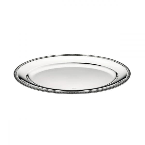 Malmaison Large Silver Plated  Tray features a tantalizing oval shape with refined palm leaves trailing along the edge. The mirror polished dazzling Christofle Maison Tray is ideal for beverage service or tray-passing appetizers at an event.