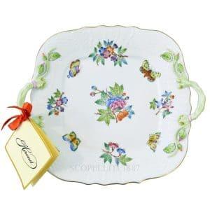 vassoio in porcellana Herend con fiori e farfalle