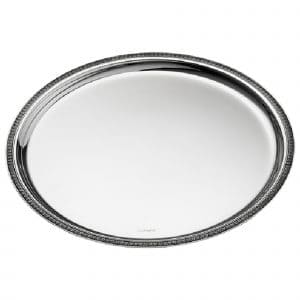 Malmaison Silver Plated  Tray features a tantalizing round shape with refined palm leaves trailing along the edge. The mirror polished dazzling Christofle Maison Tray is ideal for beverage or food service or for simply enriching home decor.