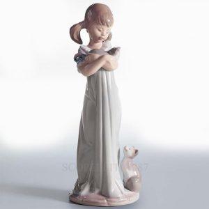 Lladrò - Statua Ragazza con gattini