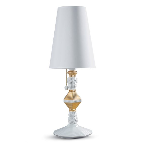Lladrò - Lampada alta in porcellana bianca con oro