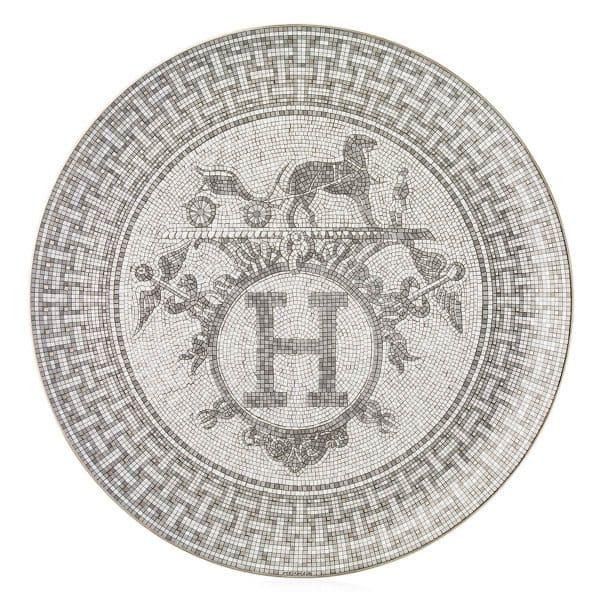 Piatto torta 32 cm Mosaïque au 24 platinum Hermès