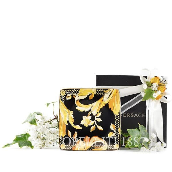 """Versace's luxurious """"Vanity"""" 12 cm small Square Dish features a triumph of glistening gold foliate against charcoal darkness."""