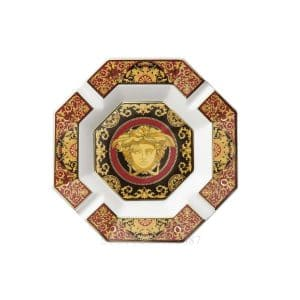 "Versace's astonishing ""Medusa"" octagonal porcelain Ashtray: expressive and swirling red and gold baroque ornaments and cheerful cherubs enhance the unmistakably Versace emblem."
