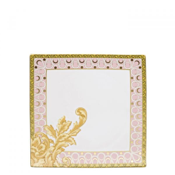 """Versace's opulent """"Les Reves Byzantins""""  22 cm Square Dish displays a profusion of swirling golden baroque motifs branching over the elegant graphic rim."""