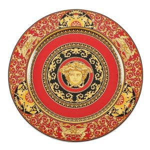 "Versace's astonishing ""Medusa"" 30 cm Service Plate: expressive swirling red and gold baroque ornaments and cheerful cherubs and hunting scenes enhance the unmistakably Versace emblem."