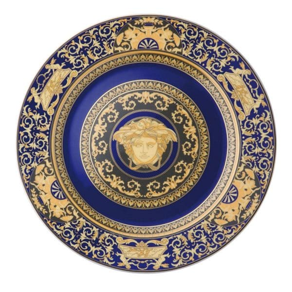 "Versace's refined ""Medusa Blue"" 30 cm Wall Plate displays the golden head of Medusa against a striking royal blue."