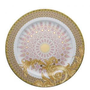"Versace's striking ""Les Reves Byzantins""  30 cm Service Plate features flamboyant golden acanthus leaves in contrast with the elegant order of the central golden pattern."
