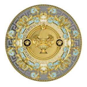 "Versace's flamboyant ""Prestige Gala Le Bleu"" 30 cm Service Plate will bewitch all Versace lovers with its  luxurious turquoise, gold and platinum shades."