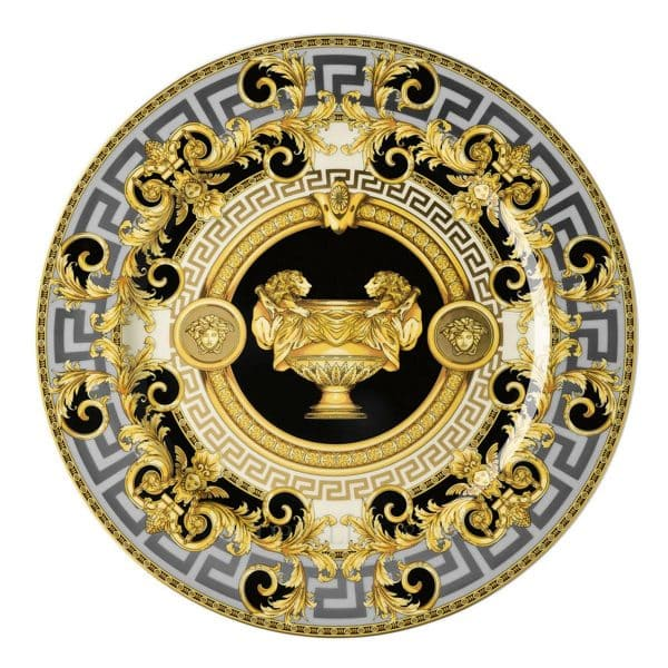 "Versace's captivating ""Prestige Gala 2"" 30 cm Service Plate features an articulate platinum and gold celebration of the French Maison's print ""Le Vase Baroque"" and Medusa Head."