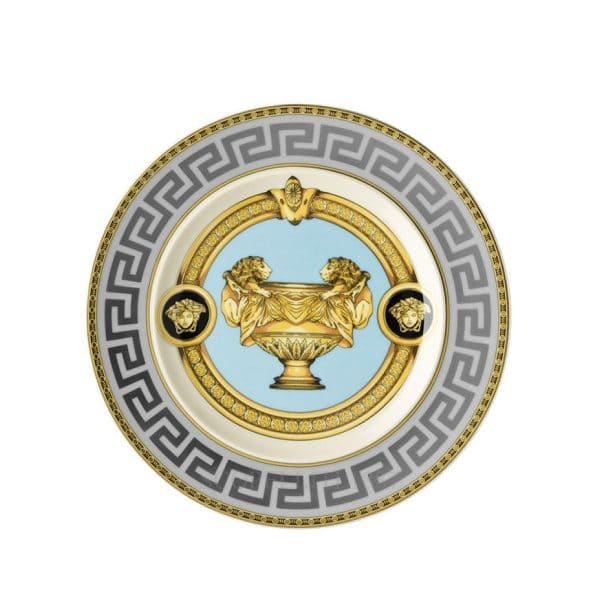 "Versace's enthralling ""Prestige Gala Le Bleu"" 18 cm Side Plate features an articulate platinum, gold and light turquoise celebration of the French Maison's print ""Le Vase Baroque"" and Medusa Head."