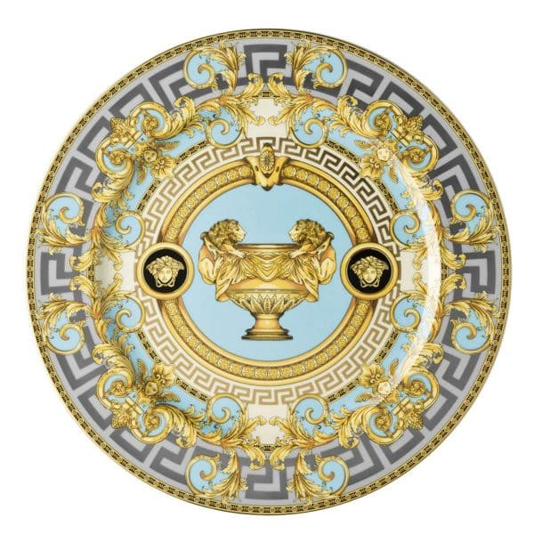 """Versace's enthralling """"Prestige Gala Le Bleu"""" 30 cm Service Plate features an articulate platinum, gold and light turquoise celebration of the French Maison's print """"Le Vase Baroque"""" and Medusa Head."""