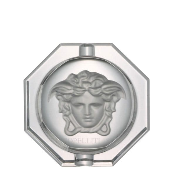 "Versace's elegant ""Medusa Lumière""  16 cm  Ashtray bestows class to home decor."