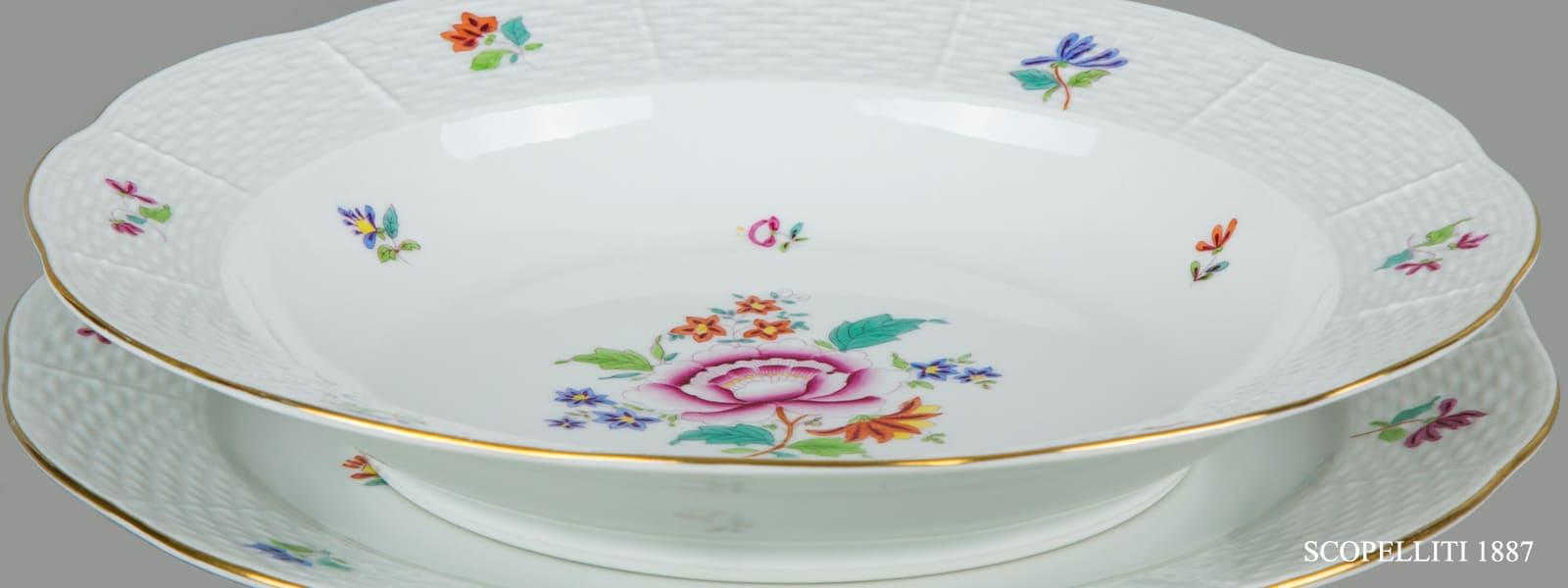 Porcellane herend decoro fiori nanking bouquet NB peonia cinese