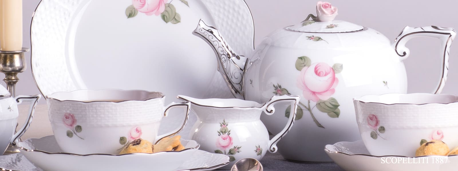 romantic herend porcelain decoration with platinum Viennese platinum rose