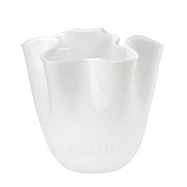 venini fazzoletto vaso bianco vetro di murano