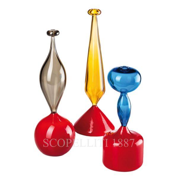 venini trio soprano yellow red vase murano glass