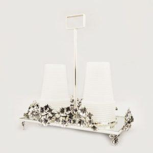 portabicchieri in argento fusione fiori quadrifoglio