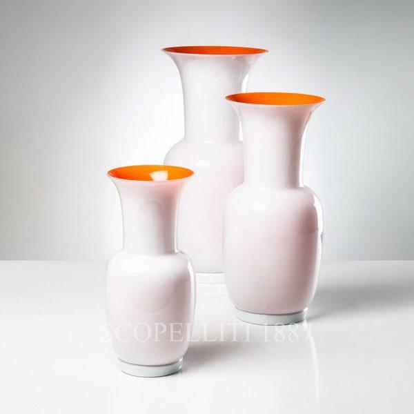 vaso opalino venini bianco arancio