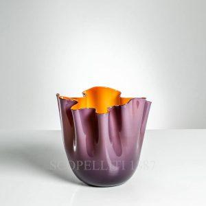 vaso venini fazzoletto indaco arancio