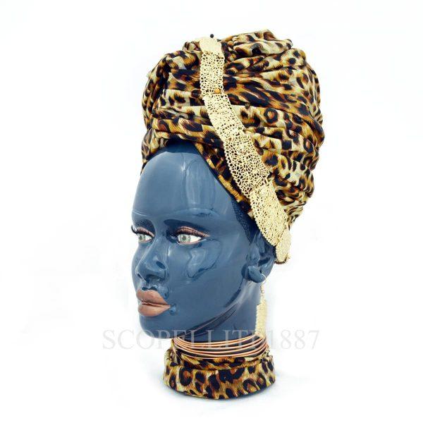 testa di moro donna con turbante in ceramica