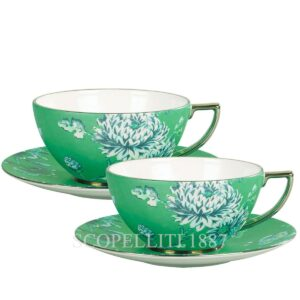coppia tazze tè wedgwood chinoiserie verde