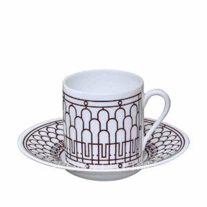 set 2 tazze caffe h deco rouge hermes
